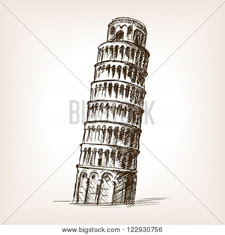 Leaning tower of Pisa sketch style vector illustration. Old engraving imitation. Pisa Tower landmark hand drawn sketch imitation