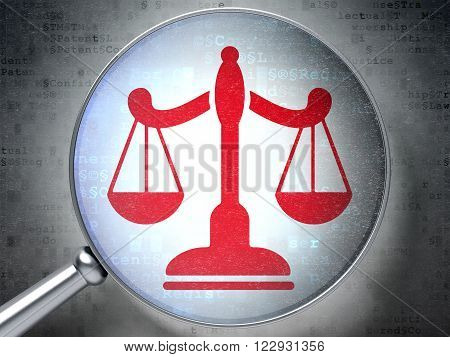 Law concept: Scales with optical glass on digital background
