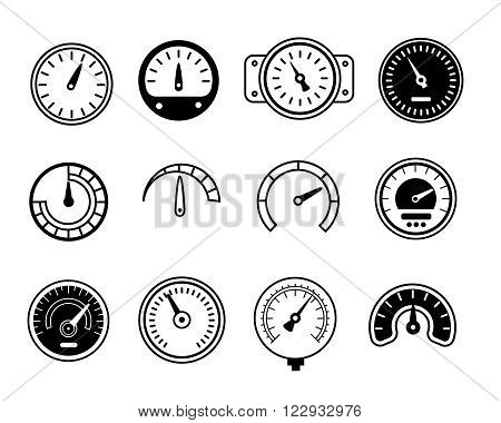 Meter icons. Symbols of speedometers, manometers, tachometers etc. Linear vector illustration