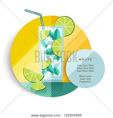 Mojito cocktail drink recipe for party or summer vacation with ingredients text and colorful flat art fruit illustration. EPS10 vector.