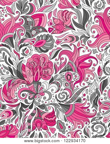 Abstract seamless ornamental pattern. Indian hand drawing background. Vector stock illustration. Pink gray background