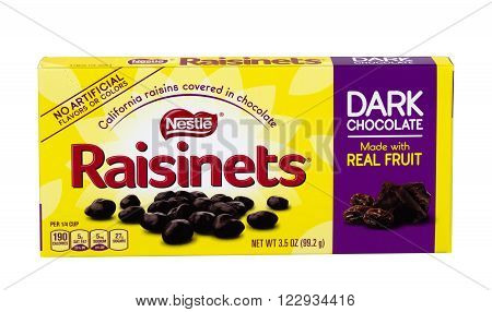RIVER FALLS,WISCONSIN-MARCH 22,2016: A box of Nestle brand chocolate covered raisins. Nestle is headquartered in Switzerland.