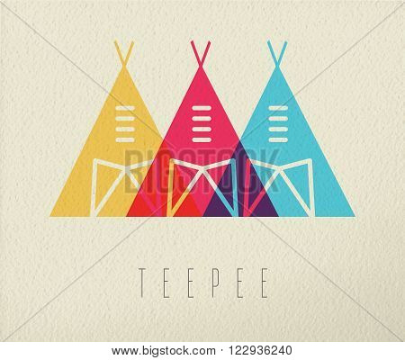 Tipi tent concept icon illustration of native american indian traditional house in color style over texture background. EPS10 vector.