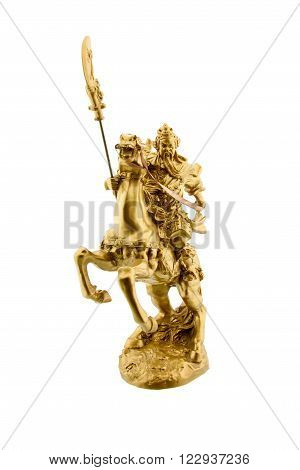 Statuette of the legendary Chinese general Guan Yu riding on a horseback named Red Hare with his Green Dragon Crescent Blade : Chinese famous warrior from Romance of the Three Kingdoms novel poster
