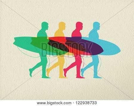 Lets Go Surfing Summer Time Color Concept Design
