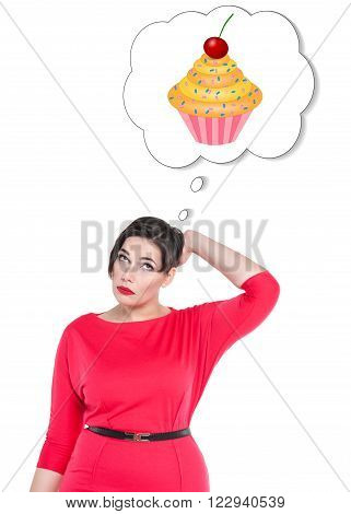 Beautiful Plus Size Woman Thinking About Cake