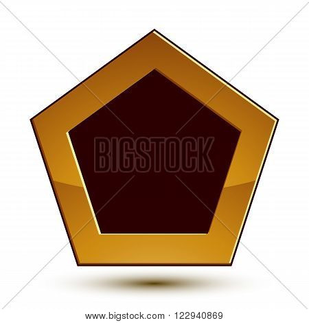 Vector classic emblem isolated on white background. Aristocratic golden shield with black copy space