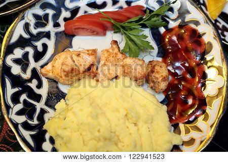 Kebab With Potato Mash On A Plate