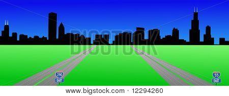 Chicago Skyline and interstates 55 and 290 illustration JPG