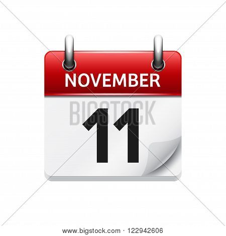 November  11. Vector flat daily calendar icon. Date and time, day, month. Holiday.