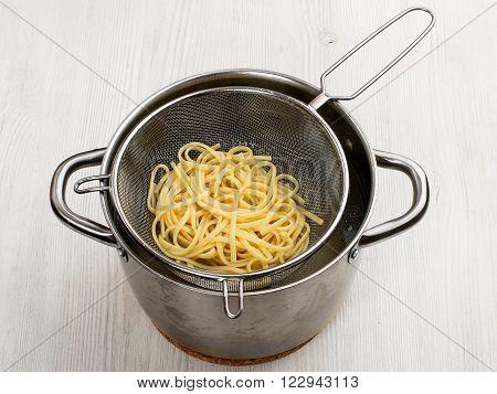 Preparing Pasta. Macaroni In The Colander