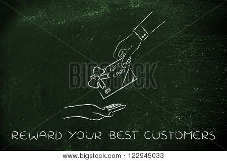Hand Giving A Gift Card With Bow, Reward Your Best Customers