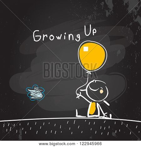 Growing up conceptual vector illustration. Kid holding a balloon, chalk on blackboard doodle style hand drawn drawing.