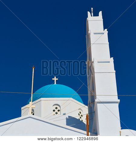 Architecture    White Background  Cross  In Santorini Greece Old Construction And The Sky