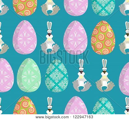 Happy Easter. Easter Seamless Pattern. Traditional Eggs. Rabbit Ornament. Festive Background For Eas