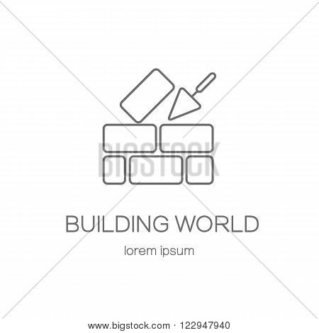 House repair logo. Cement trowel and brick wall isolated on white background. Logotype design templates. Modern easy to edit logo template. Vector logo design series.