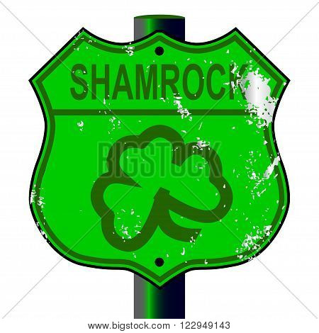 Spoof Shamrock Route 66 traffic sign over a white background