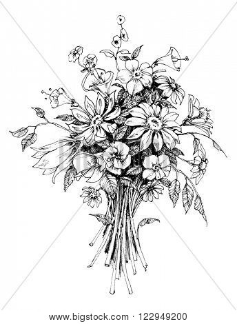 Bunch of flowers, bridal bouquet sketch