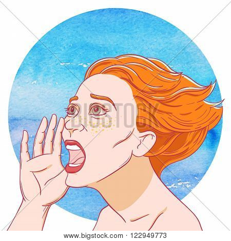 Portrait of a screaming young girl with tousled hair on the background of the watercolor circle
