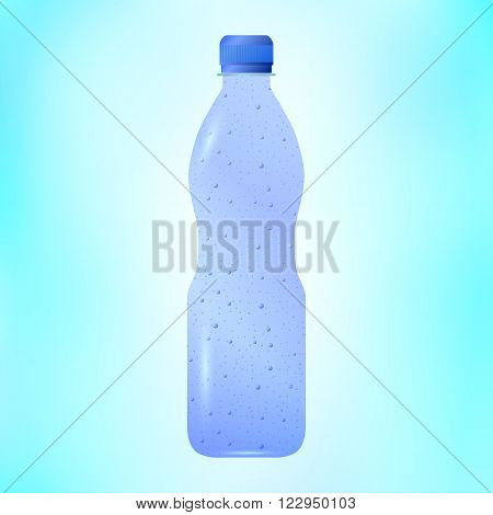 Vector illustration of sparkling mineral water in a plastic bottle. Soda water.