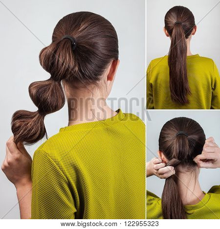 simple casual hairstyle pony tail with scrunchy tutorial