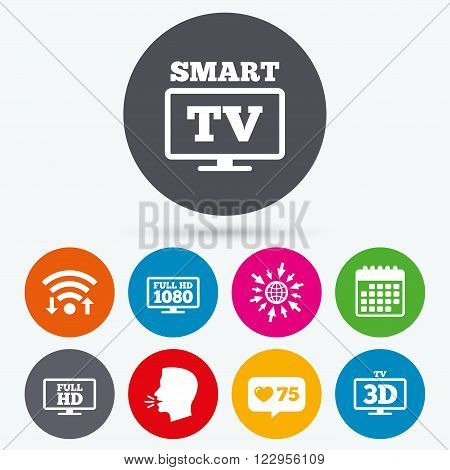 Wifi, like counter and calendar icons. Smart TV mode icon. Widescreen symbol. Full hd 1080p resolution. 3D Television sign. Human talk, go to web.