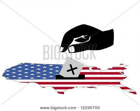 hand voting in American election with map and flag of USA illustration