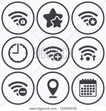 Clock, wifi and stars icons. Wifi Wireless Network icons. Wi-fi zone add or remove symbols. Favorite star sign. Password protected Wi-fi. Calendar symbol.