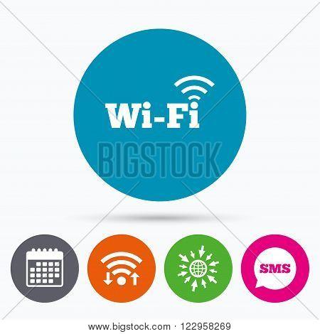 Wifi, Sms and calendar icons. Free wifi sign. Wifi symbol. Wireless Network icon. Wifi zone. Go to web globe.
