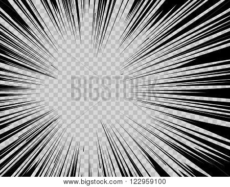 Abstract comic book flash explosion radial lines on transparent background. Vector illustration superhero design. Bright black light strip burst. Flash ray blast glow. Manga cartoon hero fight print