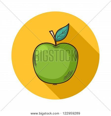 Apple icon.Vector Green apple icon isolated with shadow.Hand draw apple vector.Vector fruit  apple icon isolated on background with shadow.Vector fruit.Vector  apple icon isolated fruit