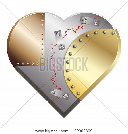 Metal heart cracked assembled from copper, silver and gold metall