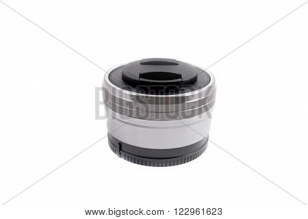 lens isolated on white background macro photo