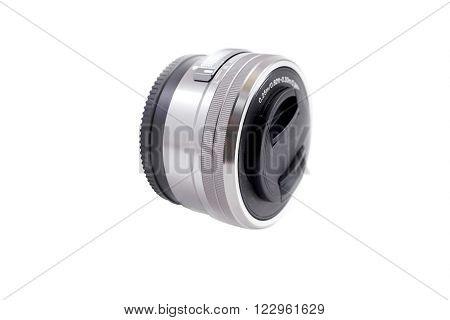 lens isolated on white background macro photo