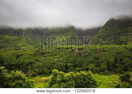 Azores landscape in Flores island. Waterfalls in Pozo da Alagoinha. Portugal