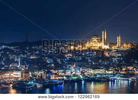 ISTANBUL, NOV 19: Suleymaniye Mosque during night from the Marmara sea . November 2013 in Istanbul, Turkey