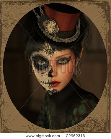 3d computer graphics of a girl with sugar skull makeup and a topper of her head