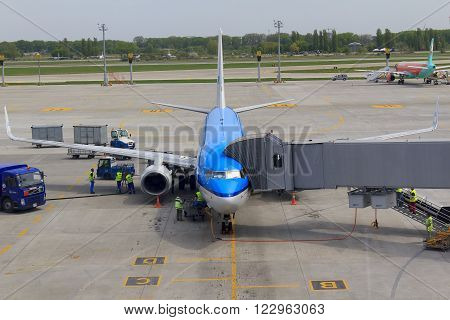 Kiev, Ukraine - May 4: It is airliner of comany KLF which is prepared for flight in the airport Borispol May 4, 2013 in Kiev, Ukraine.