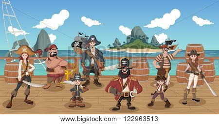 Group of cartoon pirates on a decks of a ship