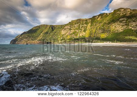 Azores coastline landscape in Faja Grande Flores island. Portugal.