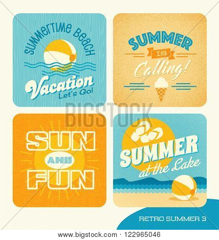 Summer retro design elements for cards, banners, tshirts