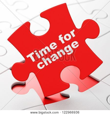 Timeline concept: Time For Change on Red puzzle pieces background, 3d render