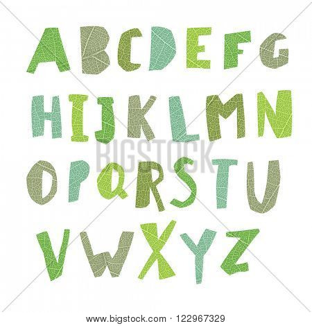 Leaf Cut Alphabet. Easy edited colors of letters. Capital letters. Each letter in separate group and ready for use. Good for ecology, environment, nature, organic themed designs