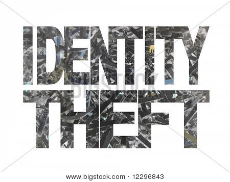 Identity theft text with shredded paper inverted colour background