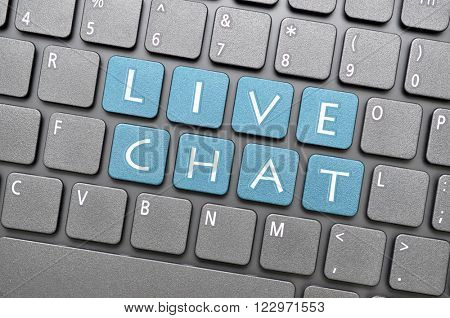 Blue live chat key on keyboard