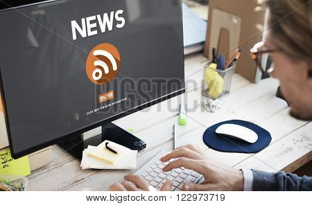 News Breaking Broadcast Inofromation Media Feed Concept