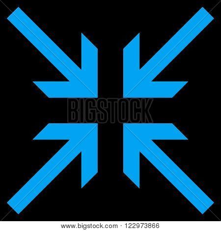 Collide Arrows vector icon. Style is flat icon symbol, blue color, black background.