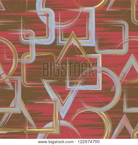 Seamless geometric grunge hand drawn paint brash  pattern in vector. Triangle square circle background