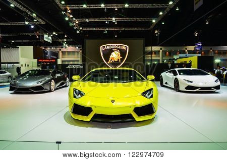 NONTHABURI - MARCH 22: Lamborghini car on display at The 37th Bangkok International Thailand Motor Show 2016 on March 22 2016 Nonthaburi Thailand.