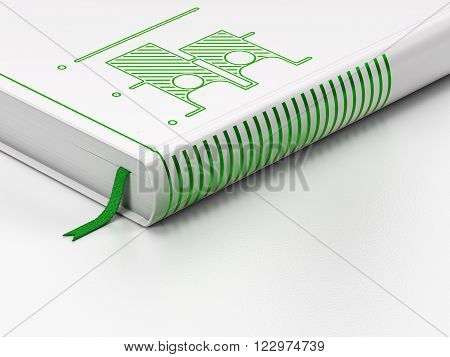 Politics concept: closed book, Election on white background